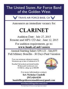 Clarinet 2015 auditions ad
